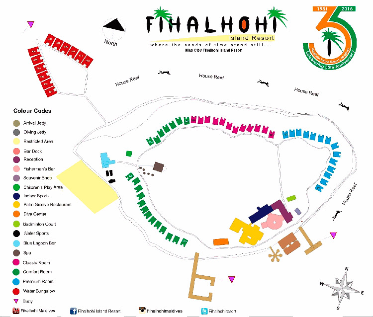 The map of Fihalhohi Island Resort, the Maldives.