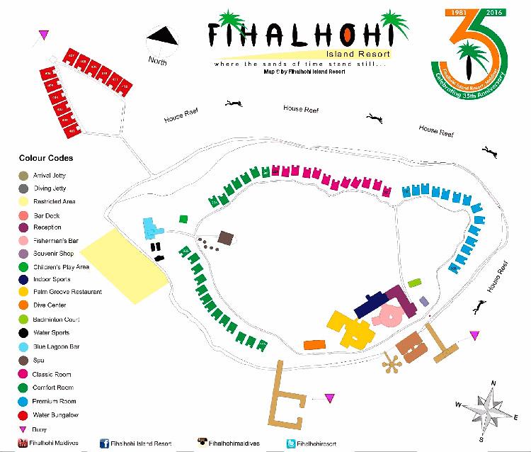 The map of Fihalhohi Island Resort, the Maldives.