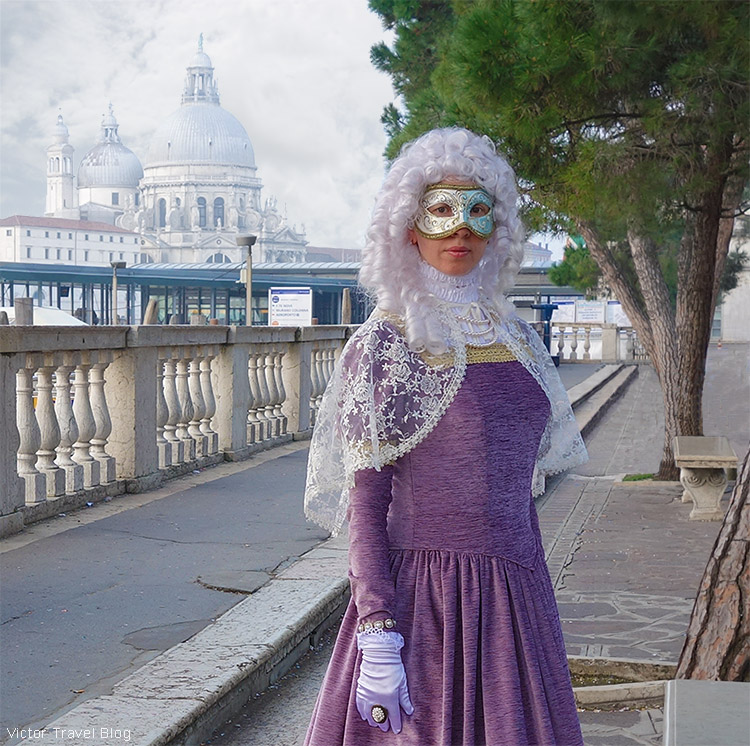 The Venetian Carnival dress of Irina. Venice, Italy.