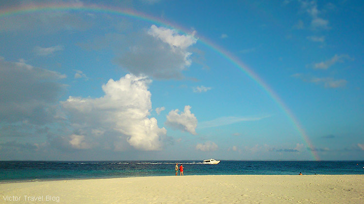 Rainbow above Fihalhohi Island Resort, the Maldives.