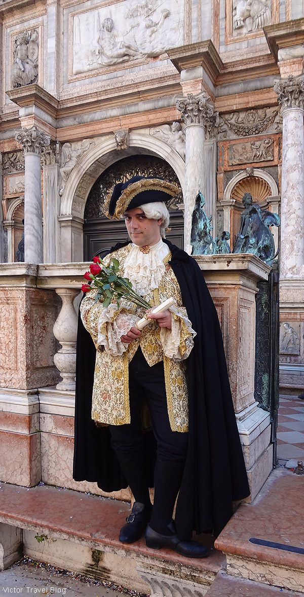 Venetian carnival costume. Venice, Italy.