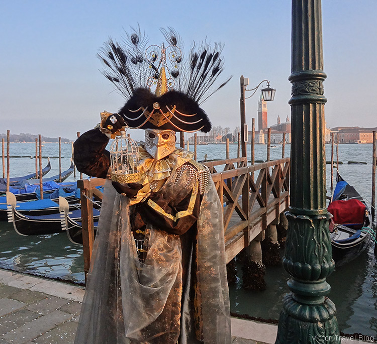 A Venetian Carnival costume. Venice, Italy.