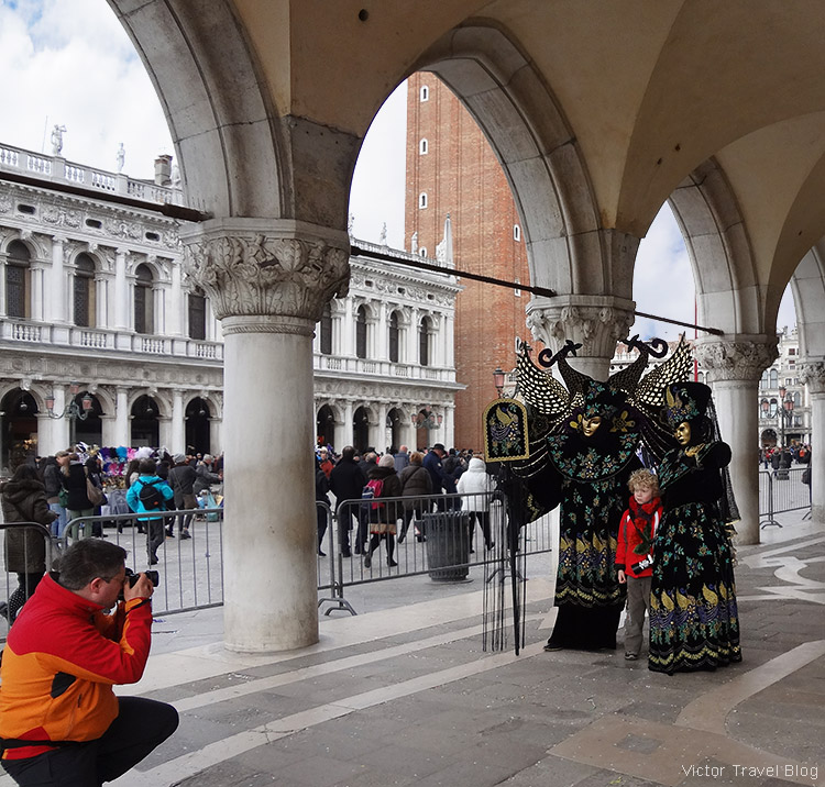 Traditional masks of the Venetian Carnival.