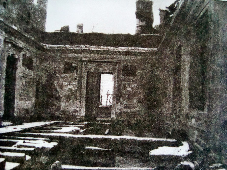 The Knights Room after the Nazis in 1944. Pavlovsk, Russia.