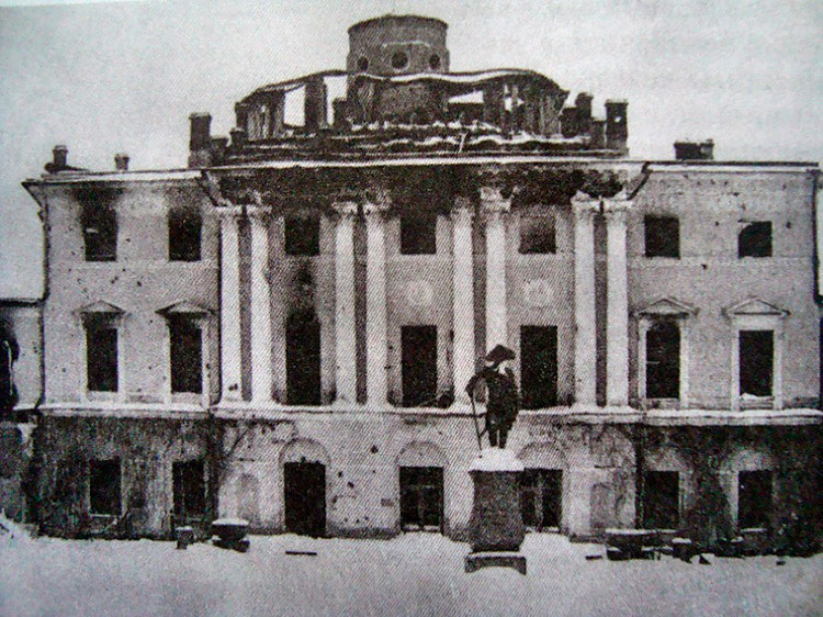 The Pavlovsk Palace after the Nazis in 1944. Pavlovsk, Russia.