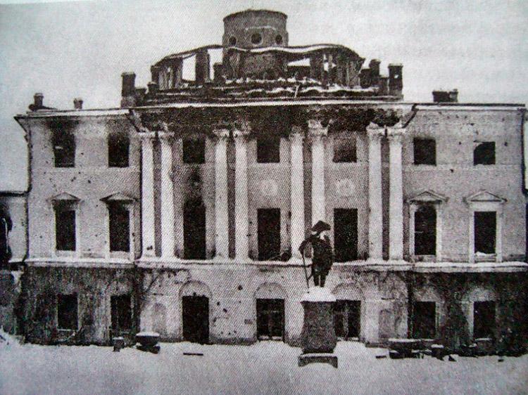 The Pavlovsk Palace after the Nazis in 1944. Pavlovsk, Russia.