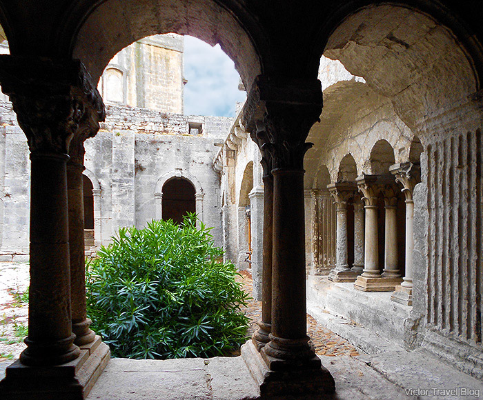 A courtyard of Montmajour Abbey, France.