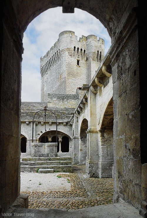 A watchtower of the Montmajour Abbey, France.