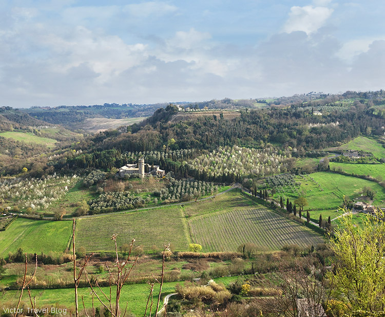 A view of La Badia di Orvieto, Umbria, Italy. A hotel in an abbey of the 12th century.
