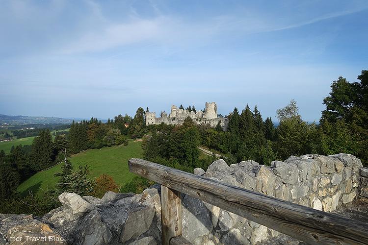View of Hohenfreyberg castle from Eisenberg castle, Germany.