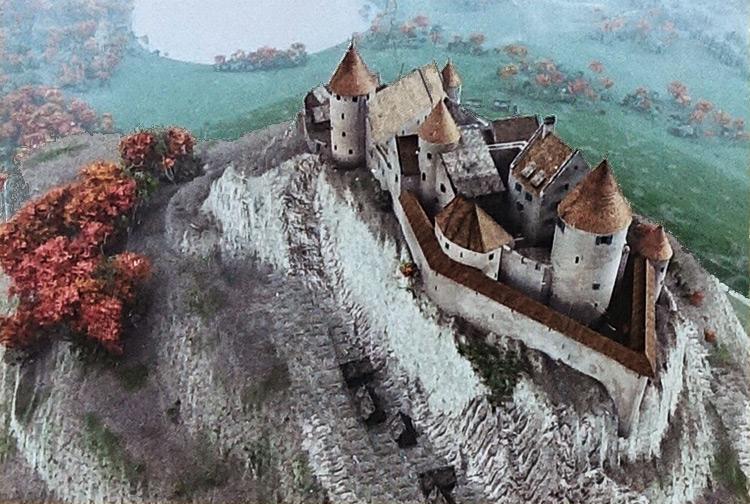 Model of Hohenfreyberg castle, Germany.