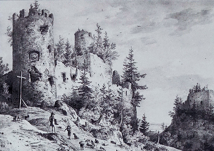 Castle ruins of Hohenfreyberg, Bavaria, in 1830.