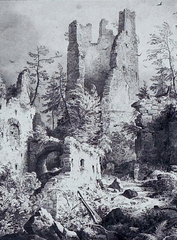 Castle ruins of Hohenfreyberg, Bavaria, in 1830.