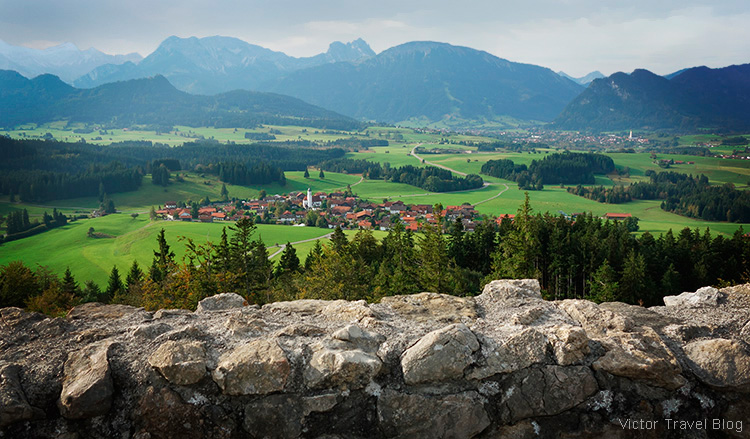 View of the village of Zell from the ruins of Eisenberg castle, Germany.