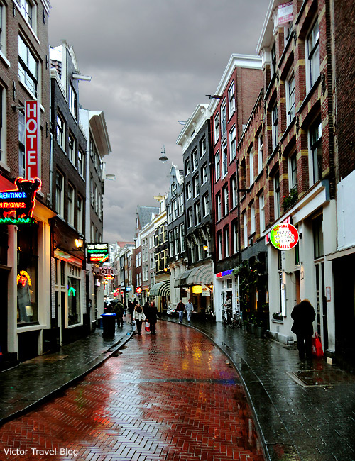 Narrow streets of Amsterdam, the Netherlands.