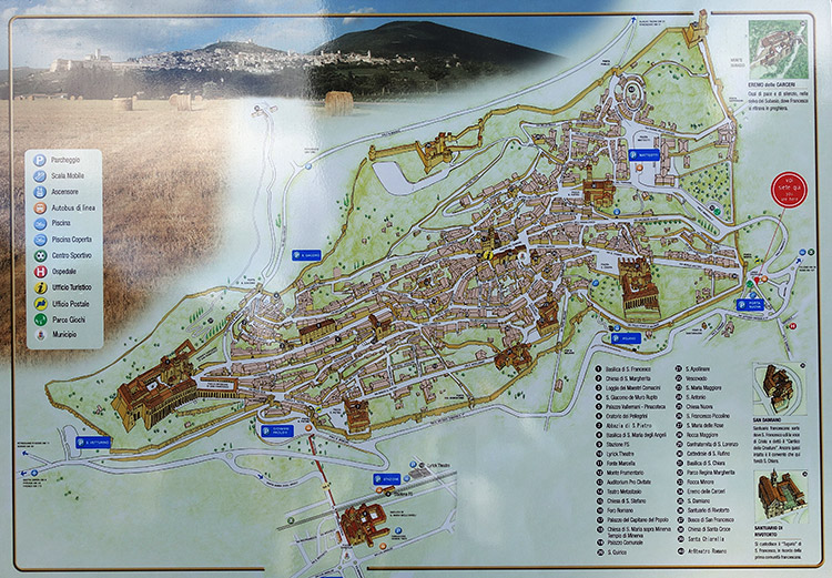 The map of Assisi, Perugia, Italy.