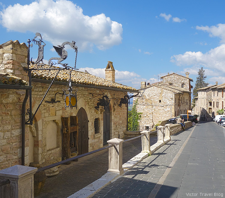 A road to the temple. Assisi, Perugia, Italy.