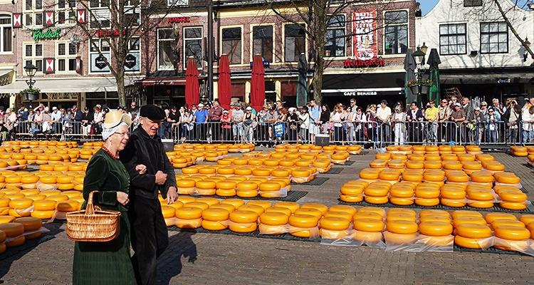 On the cheese market in Alkmaar, the Netherlands.