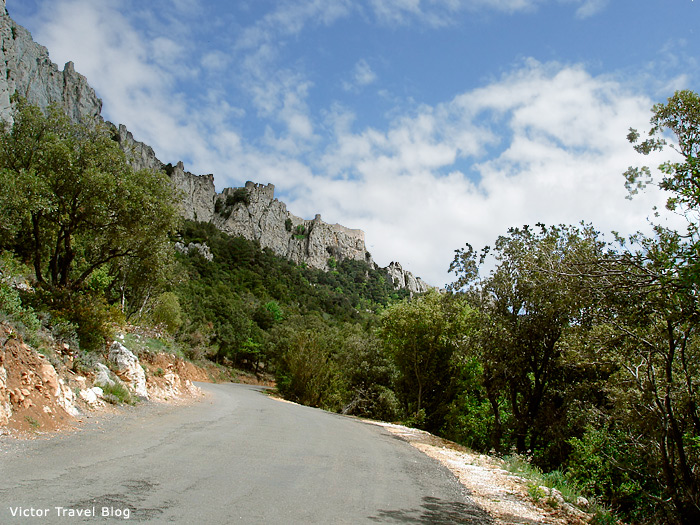 The Cathar castle of Peyrepertuse, Languedoc, France.