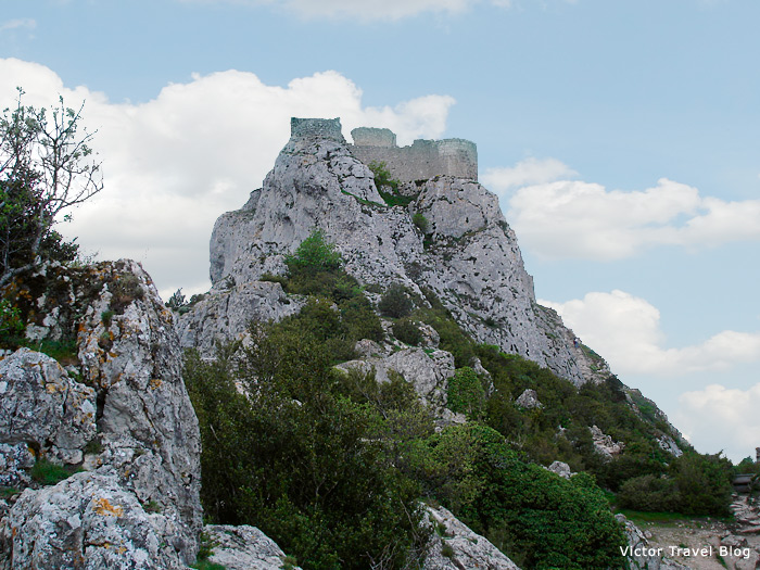 Ruins of the Cathar castle of Peyrepertuse, Languedoc, France.