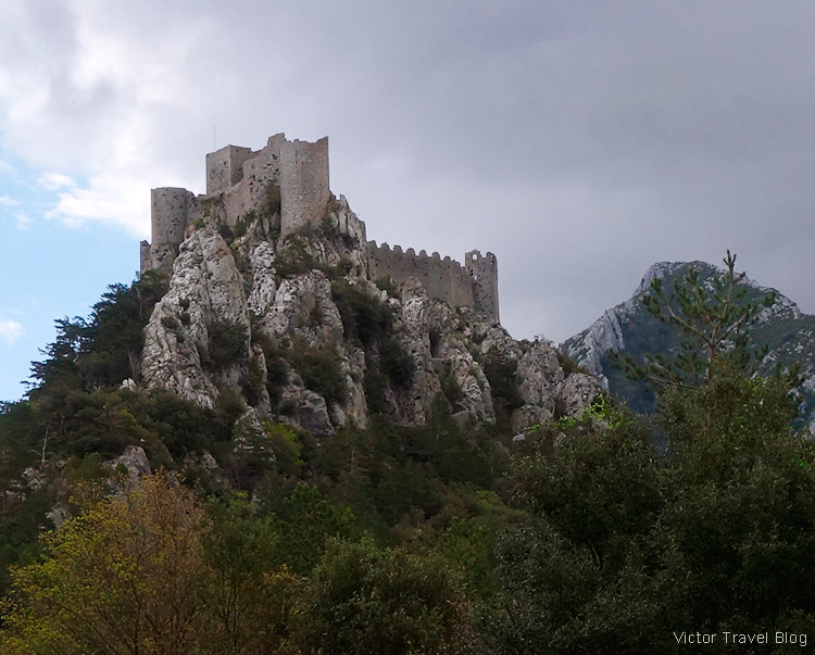 Ruins of Cathar castle of Puilaurens, Languedoc, France.