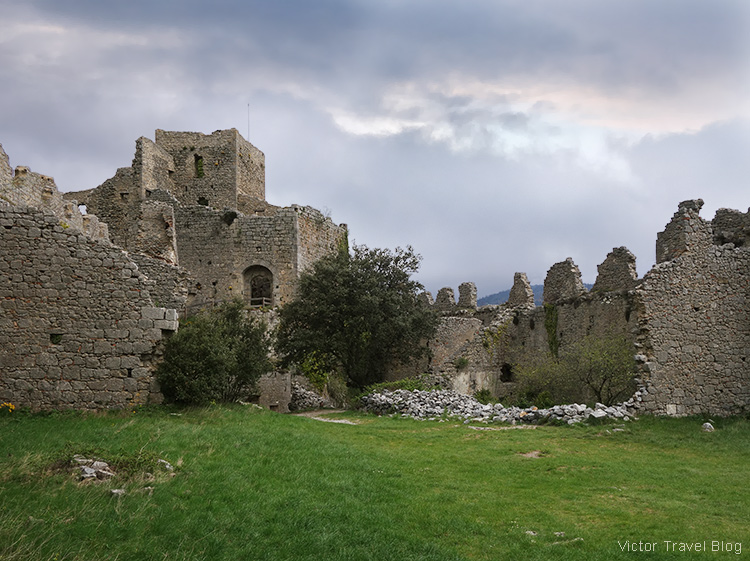 Ruins of the Puilaurens Castle, Languedoc, France.
