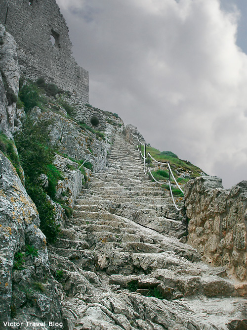 An entrance to the castle of Peyrepertuse, Languedoc, France.