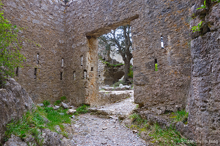 The entrance to the Puilaurens Castle, Languedoc, France.