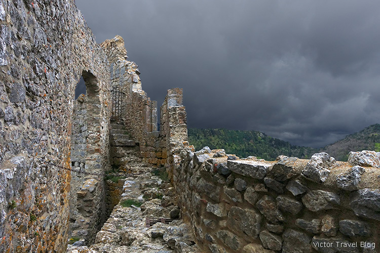 Inside of ruins of Cathar castle of Puilaurens, Languedoc, France.