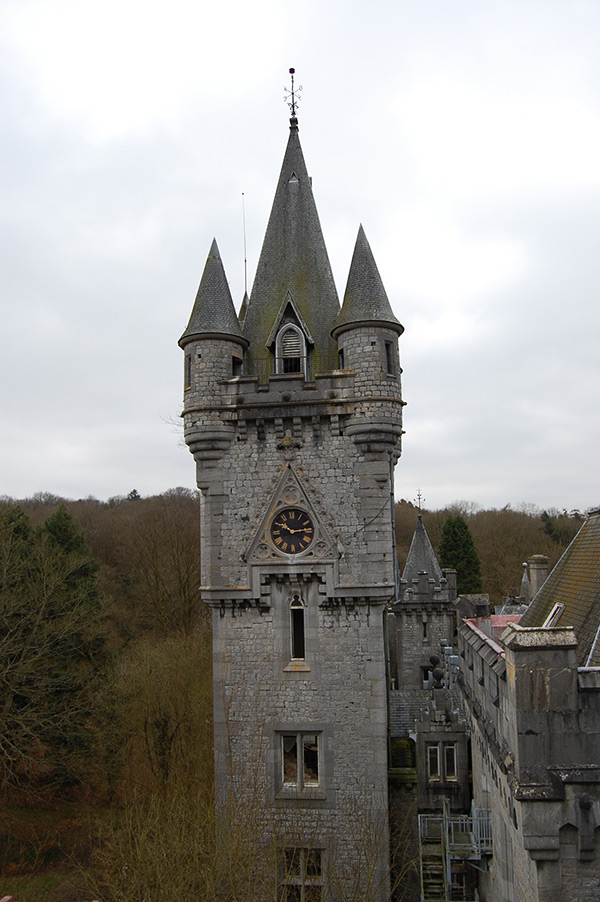 The central tower of Miranda Castle, Belgium.