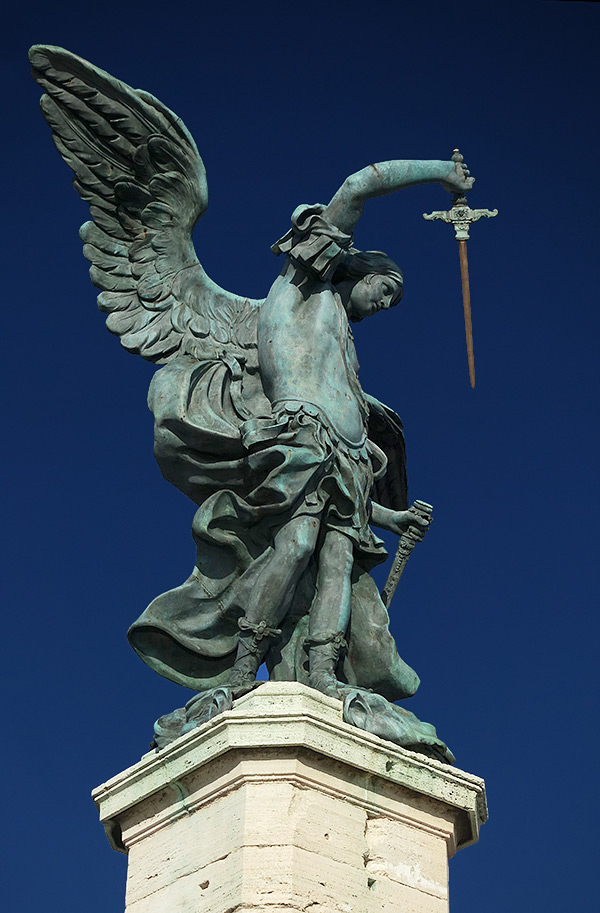 The statue of the Archangel Michael at the top of Castel Sant'Angelo, Rome, Italy.