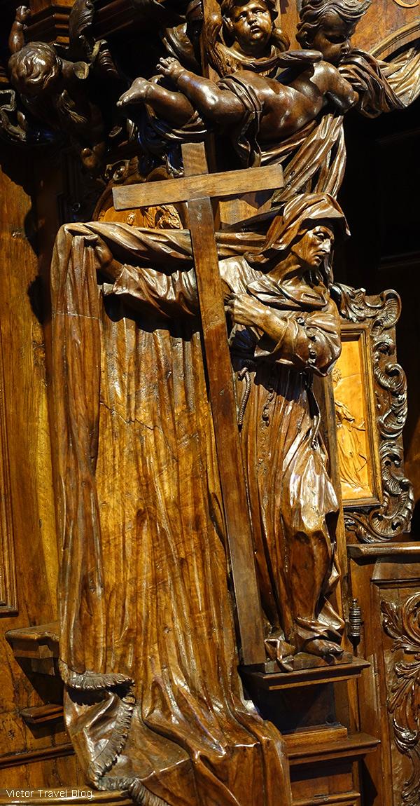 A fragment of the Baroque confessional carved by Andrea Fantoni, the Basilica of Santa Maria Maggiore, Bergamo, Italy.