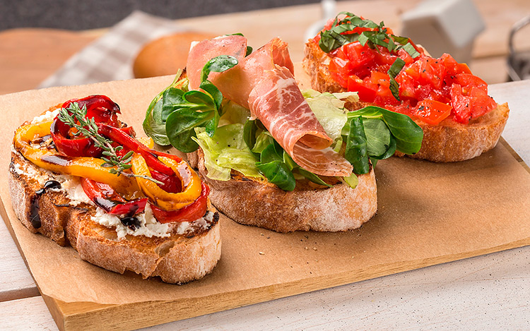 A set of Bruschetta.