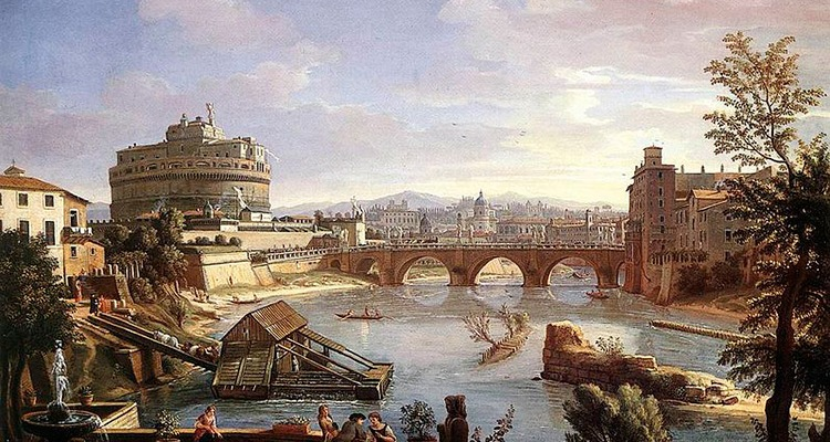 Castel Sant'Angelo from the South by Caspar van Wittel. Oil on canvas.