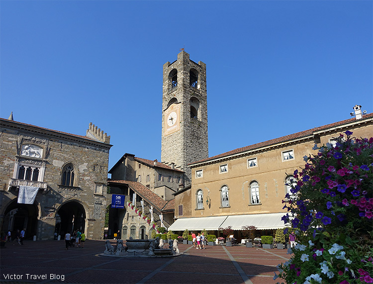 The Old Square of Bergamo, Italy.