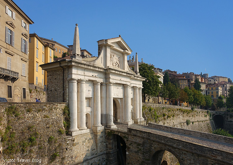 The Venetian Walls with San Giacomo Gate, Bergamo, Italy.