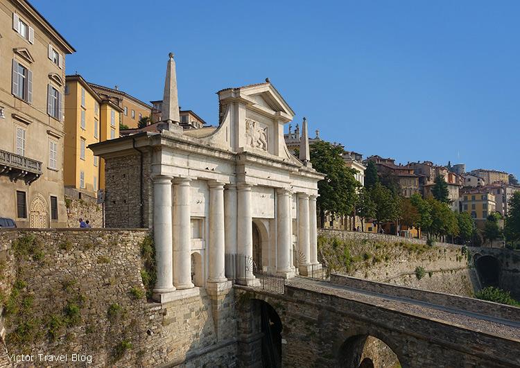 The Venetian Walls with San Giacomo Gate, Bergamo, Italy.