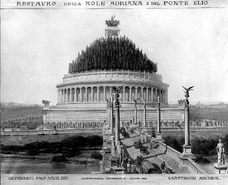 Mausoleum of Hadrian, Rome, Italy. A reconstruction.