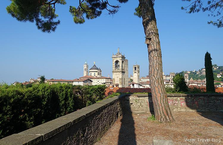 Beautiful view of Bergamo from Rocca di Bergamo, Italy.