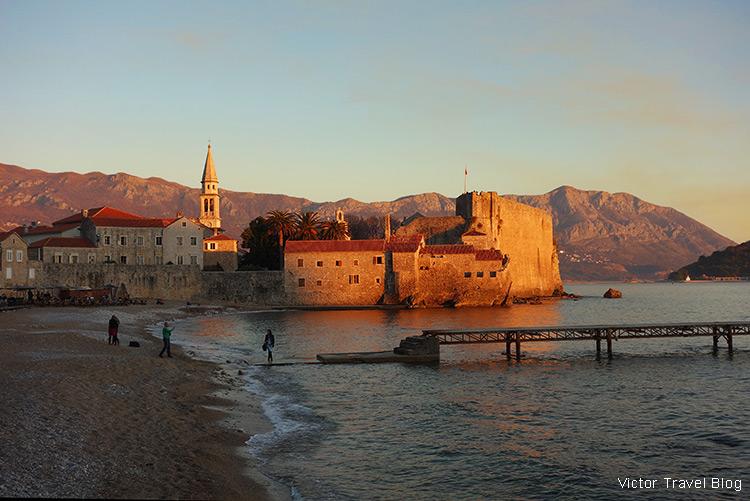 Budva Old Town Beach, Montenegro.