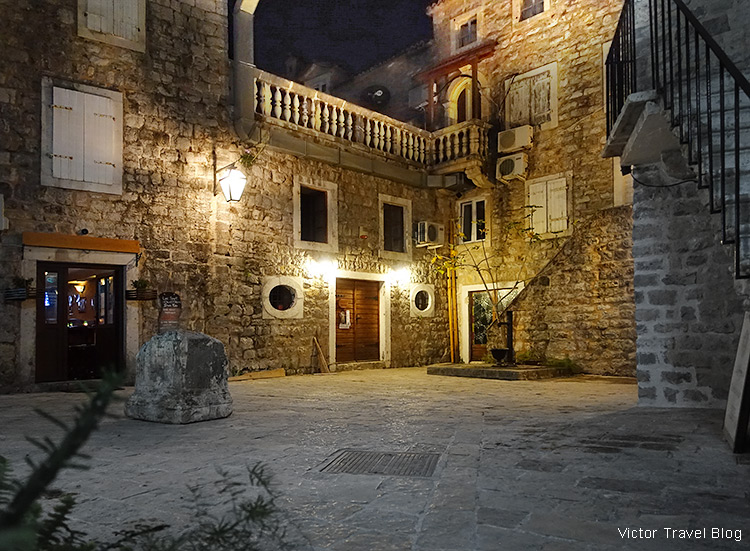 The Old Town of Budva, Montenegro, at night.
