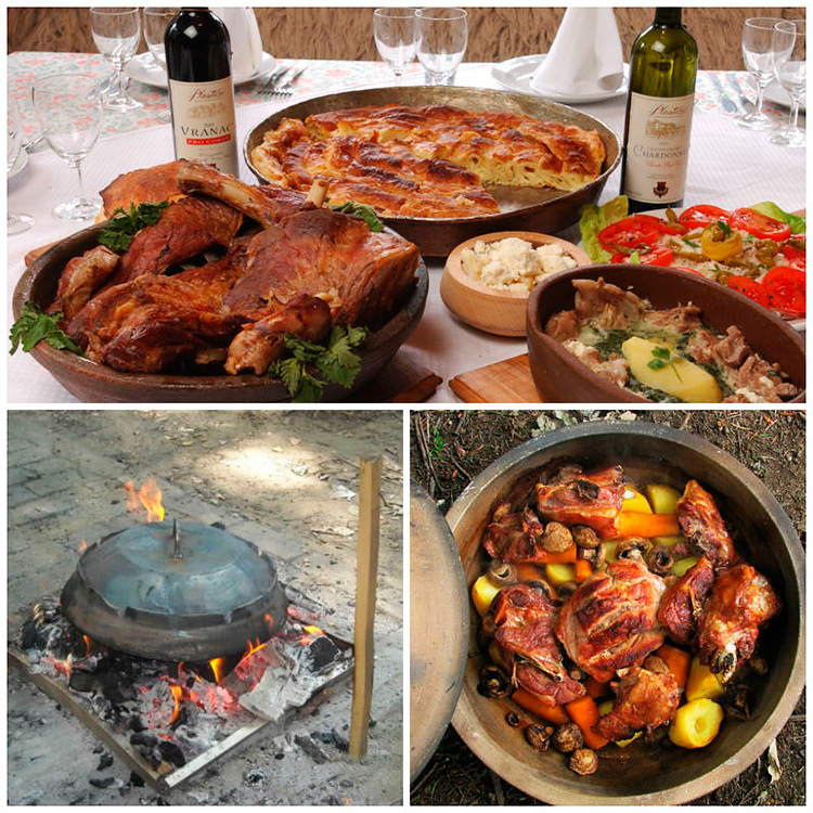 Meso ispod saca - stewed meat. Budva, Montenegro.
