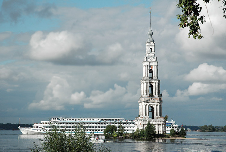 The bell tower of the flooded city of Kalyazin, Russia.