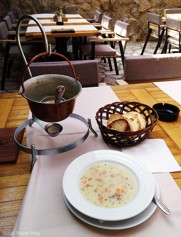 Teleca corba - veal soup in Terasa restaurant. Budva, Montenegro.