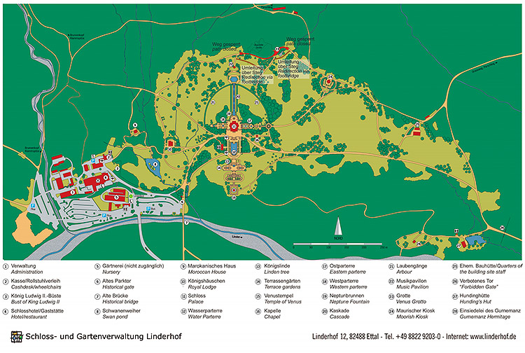The map of Linderhof gardens and park, Bavaria, Germany.