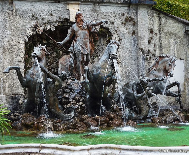Neptune Fountain, Linderhof, Bavaria, Germany.
