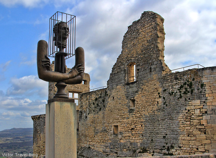 The monument to the Marquis de Sade 'Captive of his own passions' by Russian sculptor Alexander Bourganov. Lacoste castle, Provence, France.
