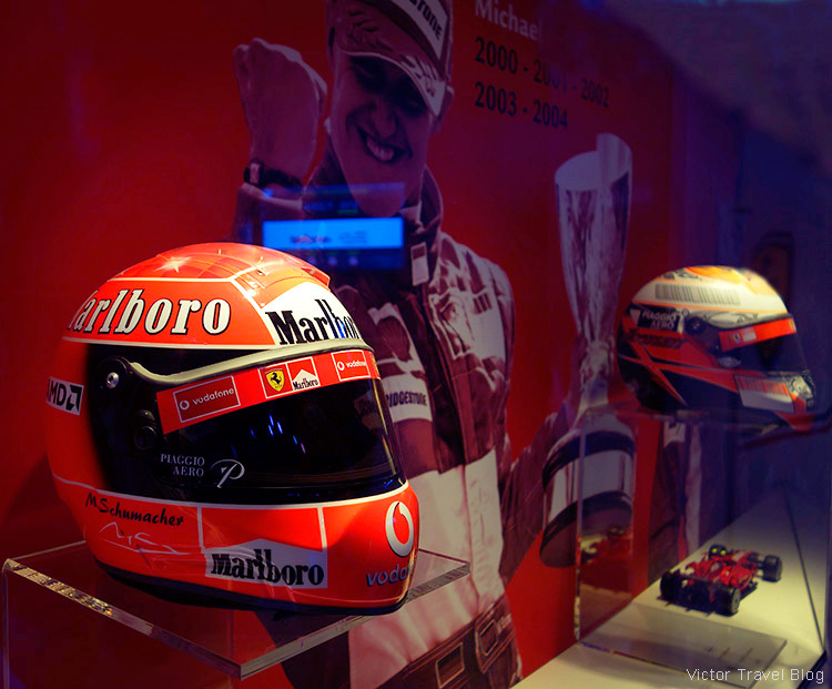 Helmets of Schumi, the Ferrari Museum, Maranello, Italy.