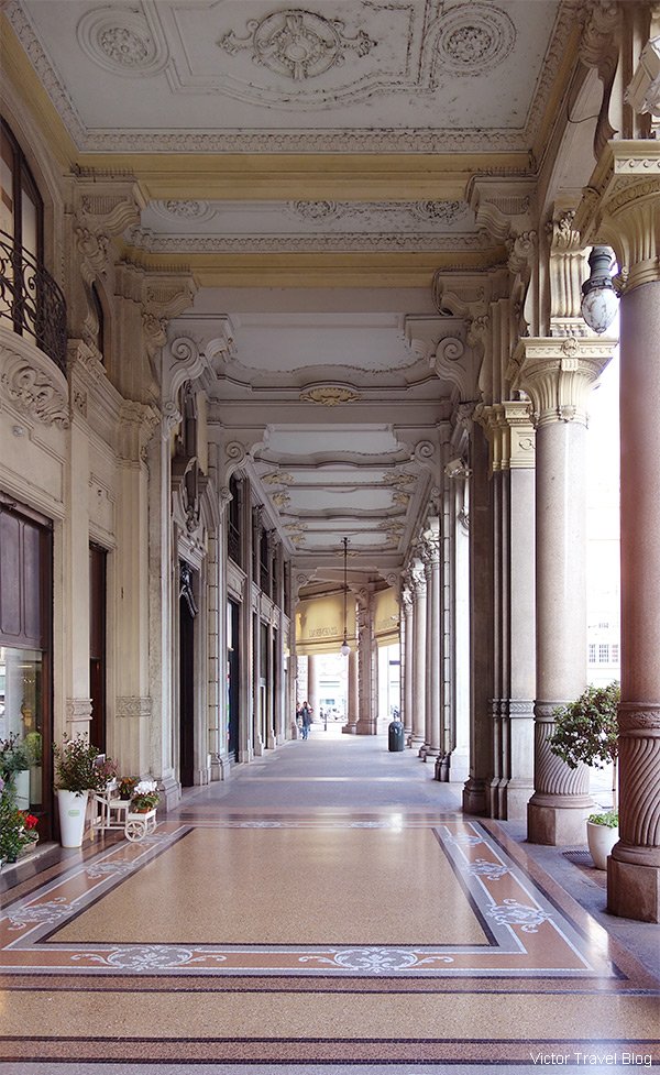An arched gallery, Turin, Piedmont, Italy.