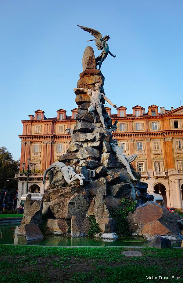 Lucifer. Piazza Statuto, Turin, Piedmont, Italy.